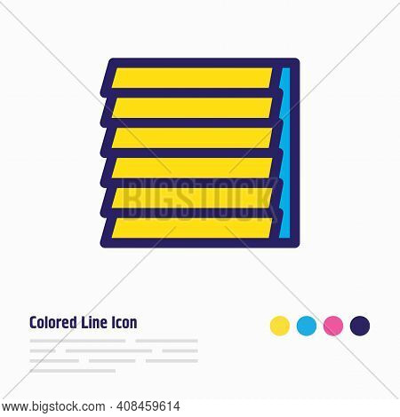 Illustration Of Window Siding Icon Colored Line. Beautiful Architecture Element Also Can Be Used As