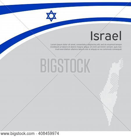 Israel Flag, Mosaic Map Background. Israel Wavy Flag On A White Background. National Poster. State I