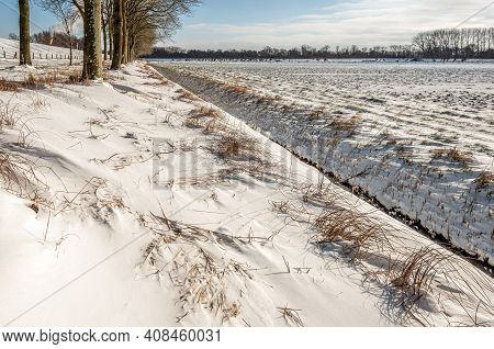 Dutch Agricultural Landscape In Winter. Everything Is Covered With A Thick Layer Of Untouched Snow.