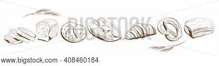 Different Bakery Goods.bread Illustration In Engraving Style.sliced French Loaf,baguette,pretzel,bun