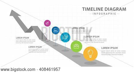 Infographic Template For Business. 5 Steps Modern Timeline Diagram With Roadmap And Circles.
