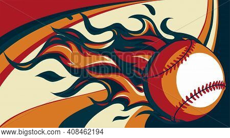 Baseball With Flames On Colored Background Vector Illustration