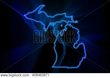 Glowing Map Of Michigan, Modern Blue Outline Map, On Dark Background