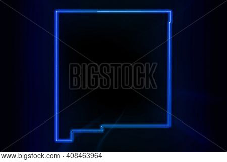 Glowing Map Of New Mexico, Modern Blue Outline Map, On Dark Background