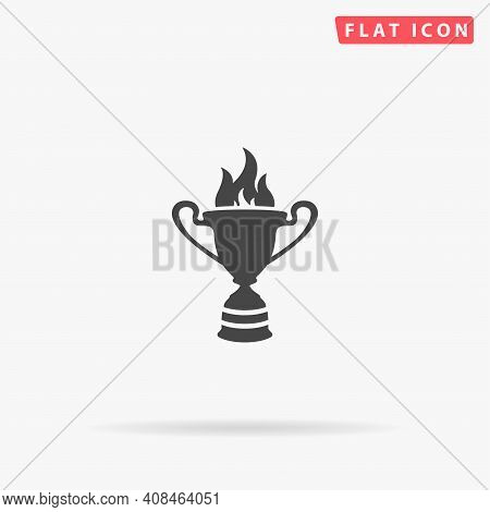 Goblet Of Fire Flat Vector Icon. Hand Drawn Style Design Illustrations.