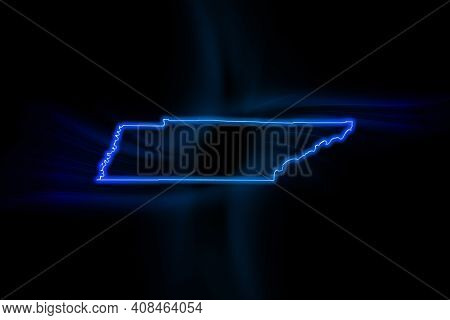 Glowing Map Of Tennessee, Modern Blue Outline Map, On Dark Background