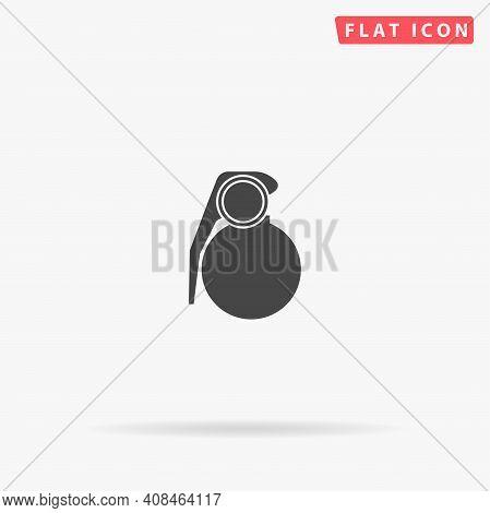 Grenade Flat Vector Icon. Hand Drawn Style Design Illustrations.