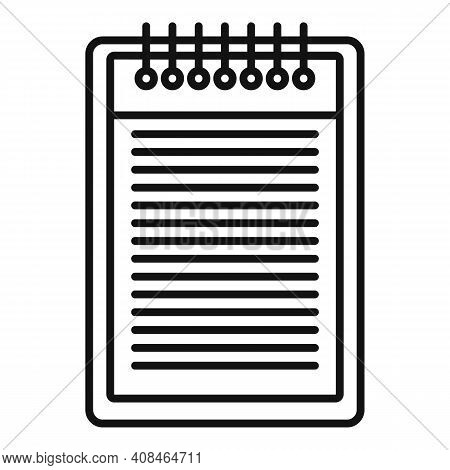 Office Manager Notepad Icon. Outline Office Manager Notepad Vector Icon For Web Design Isolated On W