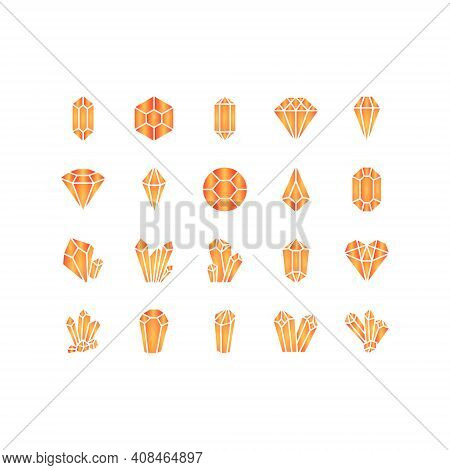 Crystals Line Icons Set. Geometric Gems Diamonds Vector Illustrations Collection. For Geology Or Jew