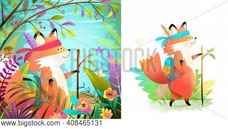 Little Brave Fox Adventure In The Forest Backpacking, Character And Landscape Design For Kids. Child