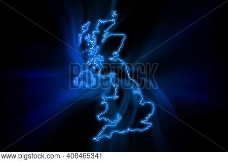 Glowing Map Of United Kingdom, Modern Blue Outline Map, On Dark Background