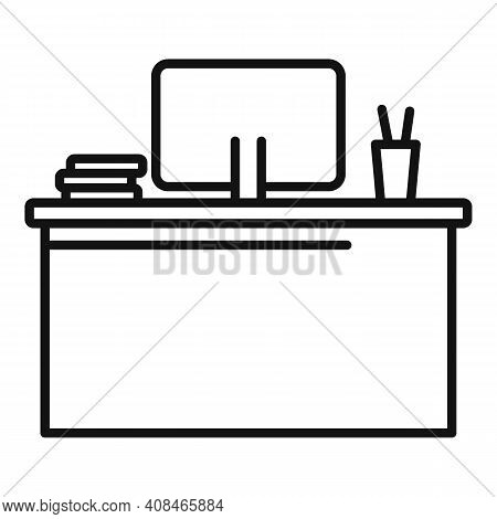 Office Manager Desktop Icon. Outline Office Manager Desktop Vector Icon For Web Design Isolated On W
