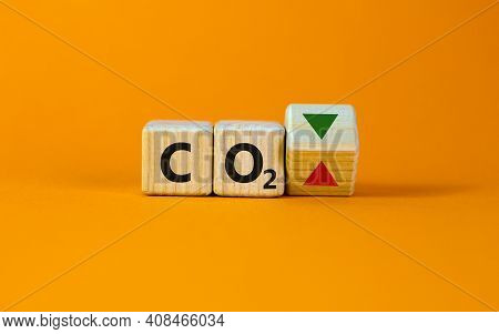 Co2 Changes Symbol. Concept Words 'co2' On Cubes On A Beautiful Orange Table, Orange Background. Bus