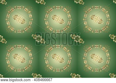 Neutral And Green Backdrop With Gold Trim. Luxury Furniture. Small Depth Of Field. Pattern On Neutra