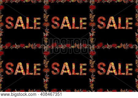Cute Sticker Illustration. Raster. Red, Orange And Black Friday Sale Label. Grunge Pained Background