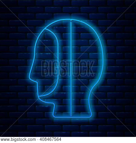 Glowing Neon Line Diving Hood Icon Isolated On Brick Wall Background. Spearfishing Hat Winter Swim H