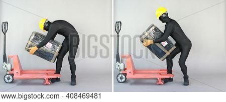 profile view of anonymous worker dealing with heavy package at manual pallet truck.Correct  vs incorrect body position.