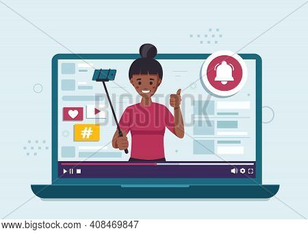 Subscribe Concept Flat Design Illustration. Black Woman Blogger.subscribe Concept Flat Design Illust