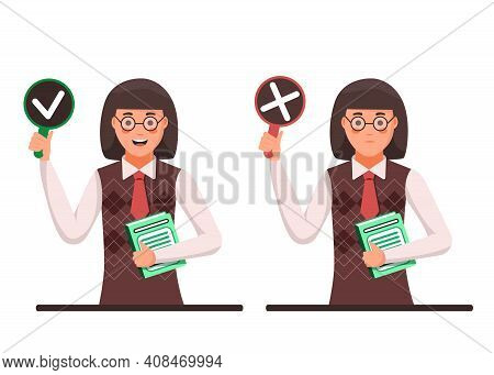 Teacher Woman With Negative Assessment And Positive Assessment, Or Voting