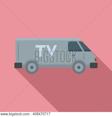 Tv Van Vehicle Icon. Flat Illustration Of Tv Van Vehicle Vector Icon For Web Design