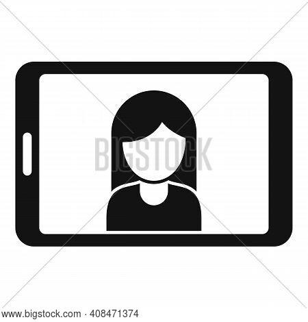 Tv Presenter Tablet Icon. Simple Illustration Of Tv Presenter Tablet Vector Icon For Web Design Isol