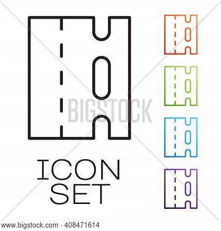 Black Line Special Bicycle Ride On The Bicycle Lane Icon Isolated On White Background. Set Icons Col