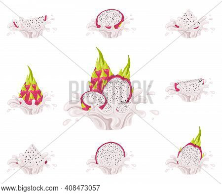 Set Of Fresh Bright Red Pitaya Juice Splash Burst Isolated On White Background. Summer Fruit Juice.