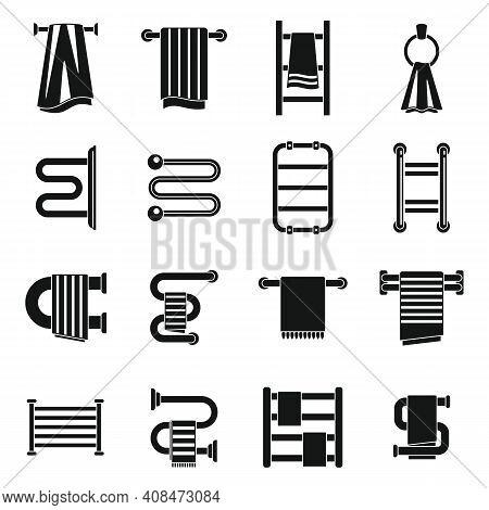 Bathroom Heated Towel Rail Icons Set. Simple Set Of Bathroom Heated Towel Rail Vector Icons For Web