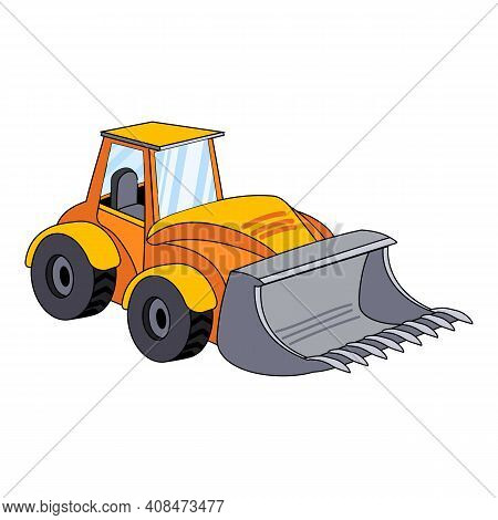 Tractor Excavator Icon. Cartoon Of Tractor Excavator Vector Icon For Web Design Isolated On White Ba