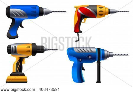 Drilling Machine Icons Set. Cartoon Set Of Drilling Machine Vector Icons For Web Design