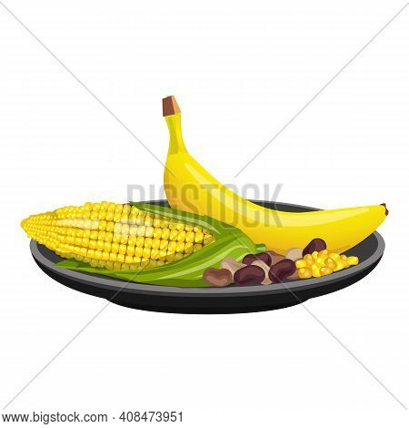 Plate With Corn And Banana Icon. Cartoon Of Plate With Corn And Banana Vector Icon For Web Design Is