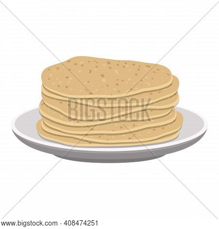 Thin Pancakes Icon. Cartoon Of Thin Pancakes Vector Icon For Web Design Isolated On White Background