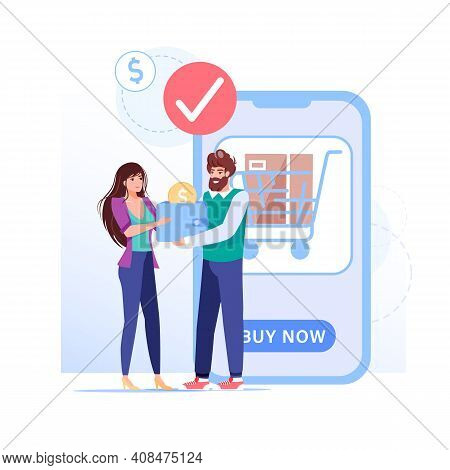 Vector Cartoon Flat Family Characters Make Online Orders Buys.profitable Delivery Service-happy Cust