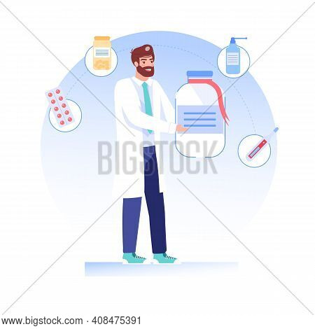 Vector Cartoon Flat Doctor Character Offers, Presents Medications Drugs.physician Specialist Holds P