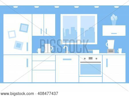 Interior Of White Kitchen At Home With Appliances And Furniture. Kitchen Wall With Window, Stove, Cu