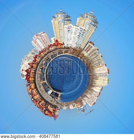 Kiev skyline aKiev skyline and reflection on the river Dnipro nd reflection on the river Dnipro