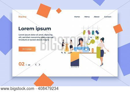 Seamstresses Working With Fabrics. Female Cartoon Characters Sewing In Workshop. Vector Illustration