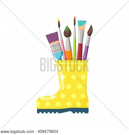 Bright Yellow Boot With Colored Artist Brushes, Isolated On White Background. Bright Spring Composit