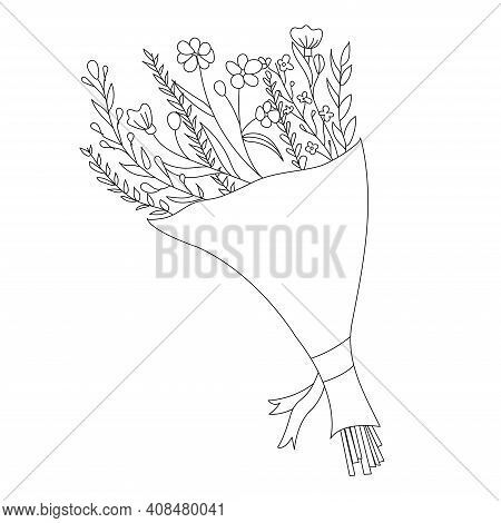 Bouquet Of Flowers Doodle. Flowers For Congratulations Of Hand Drawing Style. Spring Holiday Gift Fo