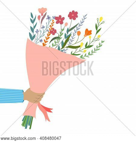 Hand Holds Bouquet Of Flowers. Bouquet Of Flowers For The Holiday. Congratulations To The Woman. Spr