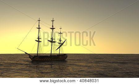 ship in the ocean in sunset light