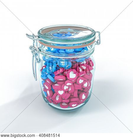 glass jar containing like icons and social media hearts. 3d render.
