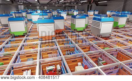 modern automated warehouse factory without human presence. 3d render.