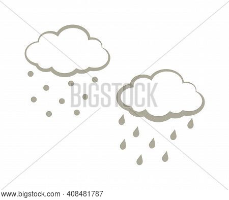 Dark Cloud And Precipitation On A White Background. Silhouette. Vector Illustration.