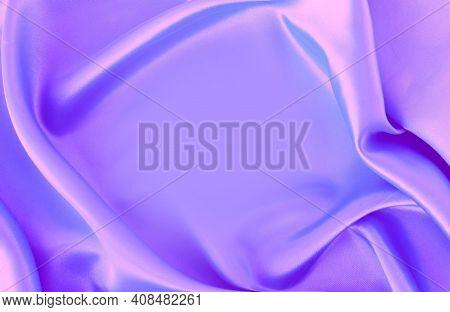 Lilac Satin Material With Beautiful Pleats. Silk, Satin - Natural Fabric. Texture,