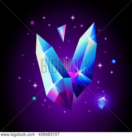 Abstract Trendy Cosmic Poster With Crystal Gems And Pyramid Geometric Shapes In Space. Neon Galaxy B