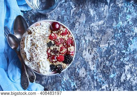 Recipe Ideas For Summer Diet Breakfast, Healthy Morning Dessert In Portioned Soup Plate With Summer