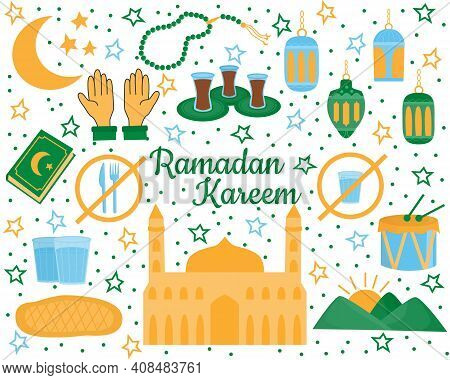 Set Of Holy Ramadan Kareem Elements. Muslim Festival Ramazan. Eid Mubarak, Islamic Celebration Icons
