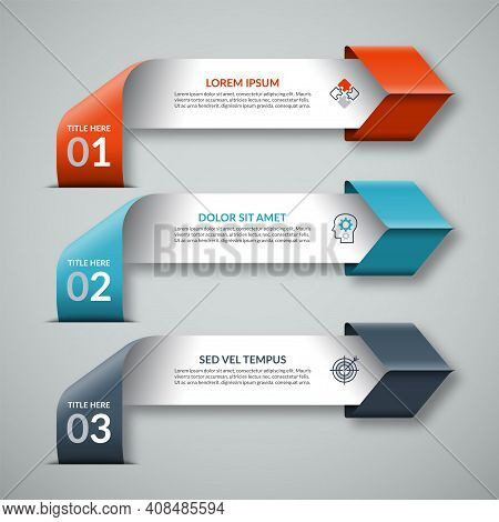 Arrow Infographic Template In Origami Style. 3-step Colorful Paper Banner For Business Infographics.