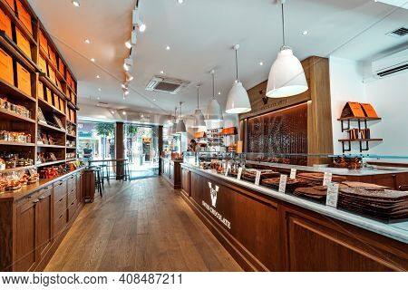 PALMA, SPAIN - APRIL 11, 2019: Interior view of Vanini chocolate shop in Palma, Spain - famous swiss company founded in Lugano, Switzerland, specializing in producing sweets and chocolates since 1871.